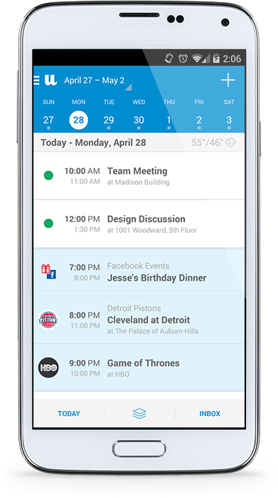UpTo Calendar App for iPhone and Android